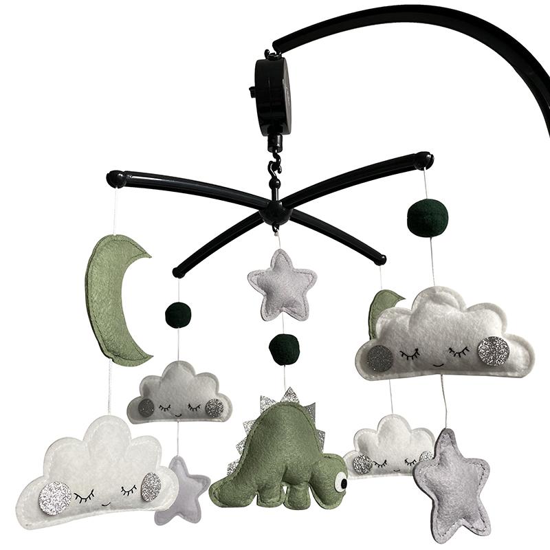 Kiekepiep Muziekmobiel Dino Groen zwarte houder